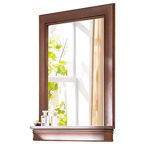 Relaxbx make-up spiegel muur spiegels voor woonkamer houten frame, met plank gemonteerde spiegel badkamer spiegel Shabby chic drijfhout spiegel (Maat: 80 * 60cm)