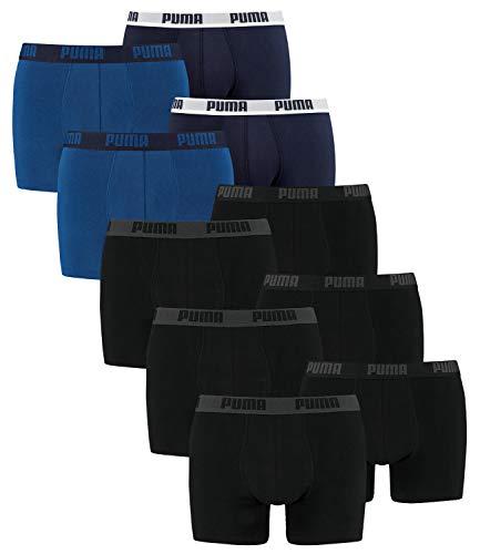 PUMA Herren Boxershorts Unterhosen 521015001 10er Pack , Wäschegröße:L, Artikel:3x black / 2x true blue
