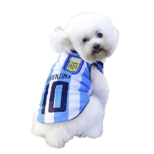 SymbolLife Trajes Perro Disfraz Gato Ropa para Perros Camiseta Fútbol Copa del Mundo FIFA Copa de Europa Jersey Argentina (M, Azul)