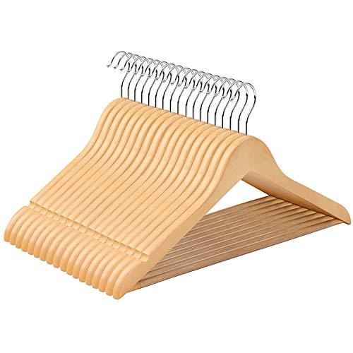 SONGMICS Perchas de Madera de arce Set de 50 Diseño antidesliaznte con Barra para Pantalones Gancho Cromado Muescas CRW001-50