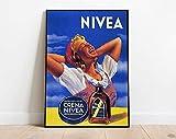 Vintage Advertising Poster, Italian Retro Print, Nivea Skin