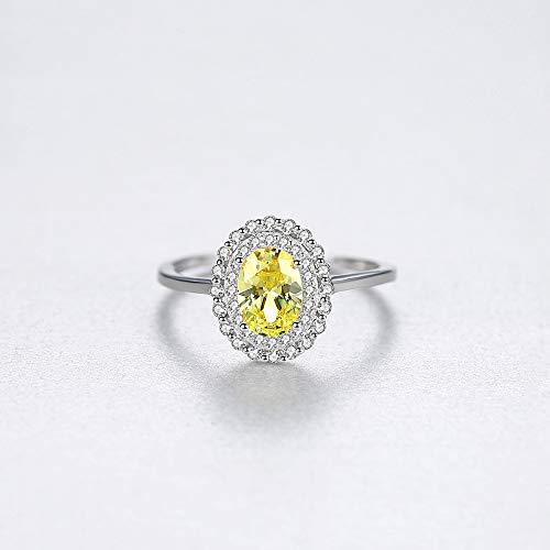 JZHHXXA Natuurlijke Geel Topaas Engagement Ring Voor Vrouwen Sterling Zilver