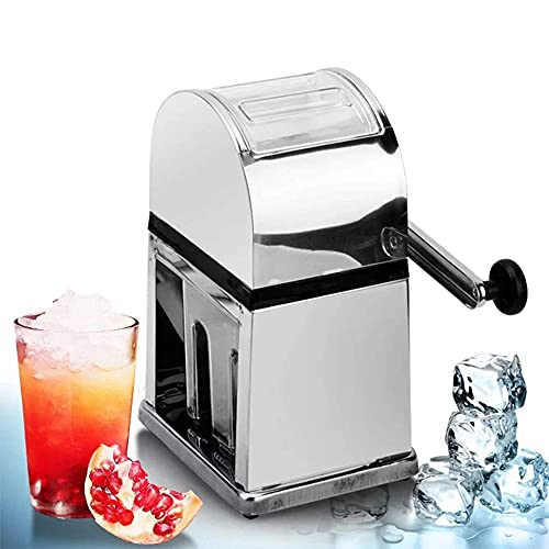JHTD Manual Ice Crusher Snow Cone Machine Stainless Steel Body and Blade Manual Hand Crank Operated Ice Shaver Non-Slip
