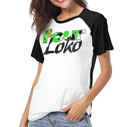 Four Loko Women Short Sleeve Baseball T Shirts Casual Loose Blouse Tops Black