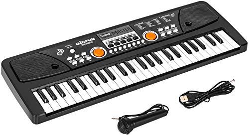 Kinder Piano Keyboard, 49 Tasten Elektronisches Klavier mit Mikrofon Tragbare Musik Tastatur Musikinstrument Klavier Geburtstag Weihnachten Geschenke Alter für 3-12 Jahre Mädchen Jungen