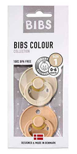 BIBS Schnuller Colour 2er Pack Größe 1 (0-6 Monate), Naturkautschuk, dänische Schnuller mit Kirschform (Vanilla/Peach, Größe 1 (0-6 Monate))