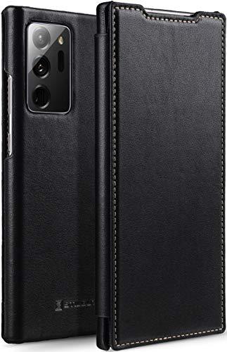 StilGut Book Hülle kompatibel mit Samsung Galaxy Note 20 Ultra Hülle aus Leder zum Klappen, Klapphülle, Handyhülle, Lederhülle - Schwarz Nappa