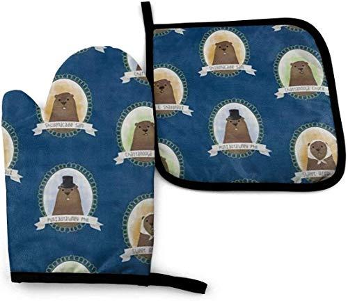 AOOEDM Cute Groundhogs Blue Ofenhandschuhe und Topflappen-Set, hitzebeständiger...