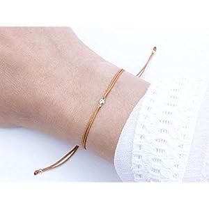 Freundschaft Zirkonia Textilarmband Ocker 925 Silber vergoldet