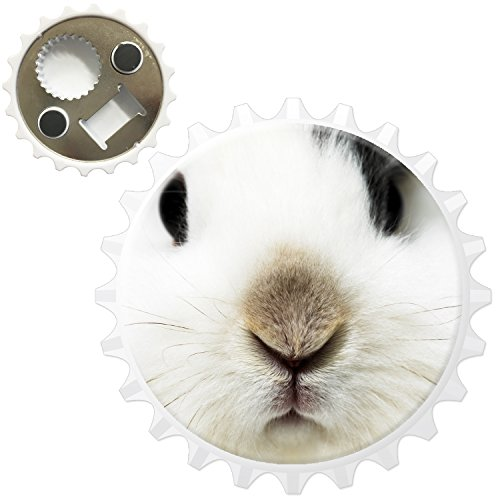 Lapins Décapsuleur Aimant de réfrigérateur, Black & White Rabbit Close Up, Bottle Opener