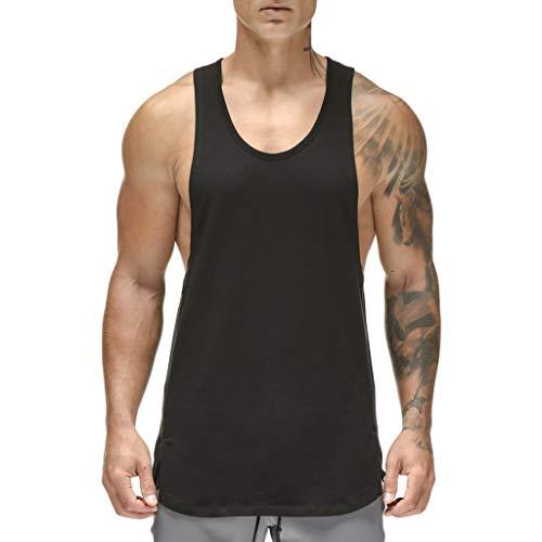Magiftbox Herren Camo Workout Mesh schnell trocknend Muskel Tank Tops Gym Bodybuilding Shirts T09 - Schwarz - Mittel