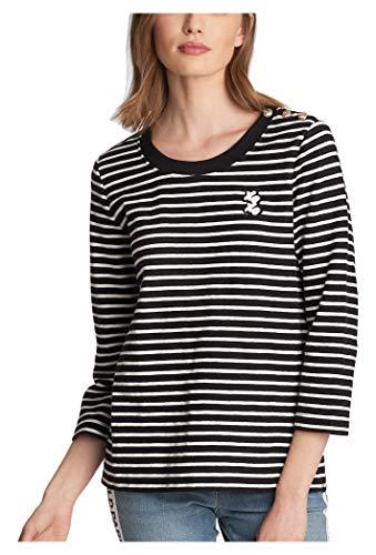 KARL LAGERFELD Paris Damen Stripe Knit W XOXO Patch Hemd, schwarz/weiß, Groß