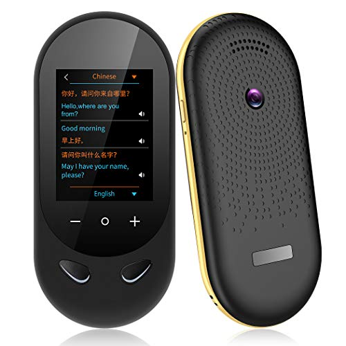 MORTENTR Language Translator Device Two Way Instant Voice Translator Support 106 Languageswith Camera Translation for Travelling Abroad Learning Shopping Business Chat Shopping (Black)