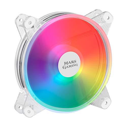 MARSGAMING MFD, Ventilador RGB 120mm, Ultrasilencioso 14dB, Molex, Transparente