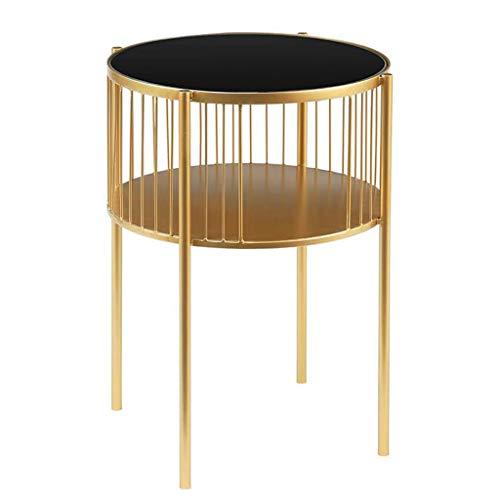 Huahua Furniture salontafel, rond, metalen hoekbank met legplank voor de woonkamer