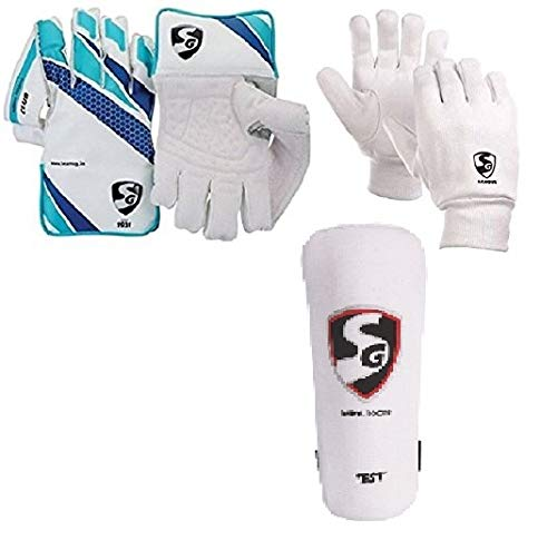 SG Combo of Three one Pair of  Club  Cricket Wicket Keeping Gloves and one Pair of  League  Inner Gloves (Men s) Test Elbow Pad Cricket Kit