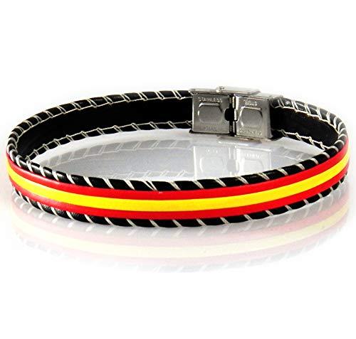 AKIEE Pulsera Hombre Cuero Bandera España Brazalete con Cierre De Acero Inoxidable - 19 20 21 22 y 24 cm Ajustable (ESPAÑA M1-20 CM)