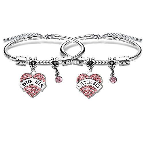2 Pcs Pink Crystal Big Little Sister Bracelets Women Girl Birthday Gift for Daughter Sister Friends