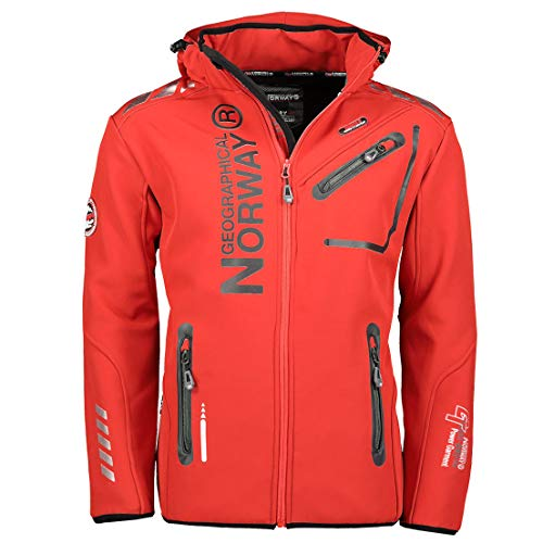 Geographical Norway Herren Softshell Outdoor Jacke Rainman Turbo-Dry Kapuze (M, Red)