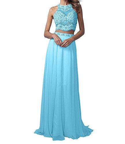 La_Marie Braut Langes Zwei-teilig Perlen Abendkleider Promkleider Partykleider Chiffon A-Linie Rock-38 Blau