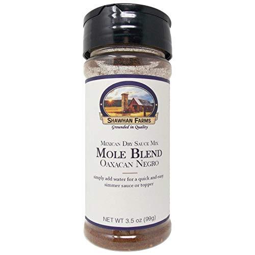 Shawhan Farms Dry Mole Sauce Mix - Oaxacan Negro Blend | Simply Add Water | Gluten Free | 3.5 Ounce Shaker Top Jar