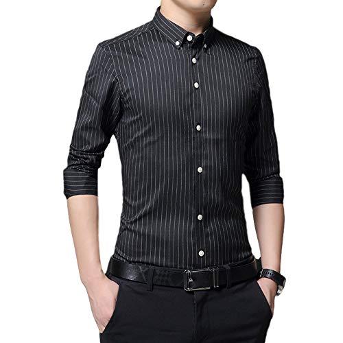 Camisas de Vestir de Negocios con Botones de Manga Larga con Cuello clásico e Informal para Hombre Camisa Tendencia Delgada de otoño 4XL
