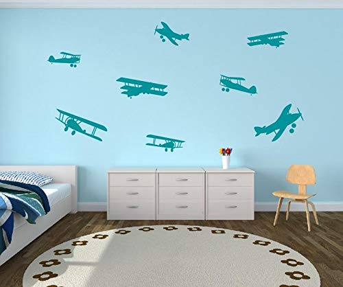 CECILIAPATER Flugzeug-Aufkleber – Kinderzimmer Wandaufkleber – Flugzeug Propeller Dekor Flugzeug Silhouette Wanddeko Vinyl Wandaufkleber Flugzeuge