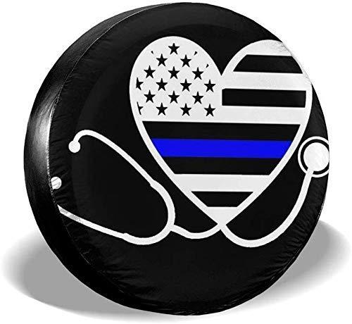 Beth-D Bandenafdekking voor dames, dunne, blauwe lijn, waterdicht, zonwering, bescherming voor reddingsbanden van 14-17 inch