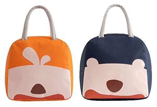 Cherish - Paquete de 2 bolsas de almuerzo portátiles, resistentes al agua con cremallera, bolsa de almuerzo abierta impresa para adultos y niños, trabajo al aire libre