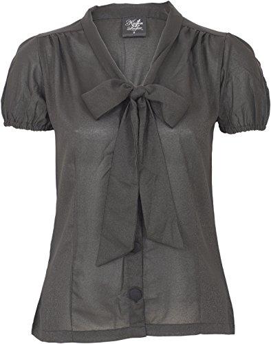 Küstenluder Damen Oberteil Jolah Vintage Glitzer Retro Bluse Schwarz XL