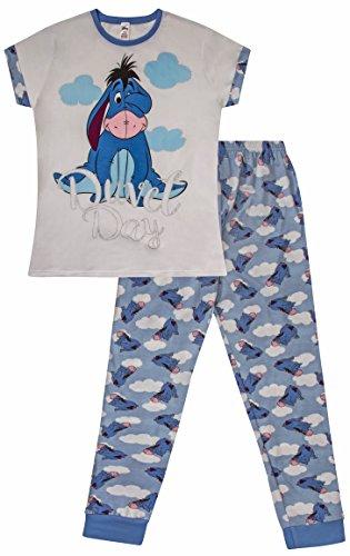 Disney Damen Schlafanzug I-Aah, lang, Gr. 36-38, Blau
