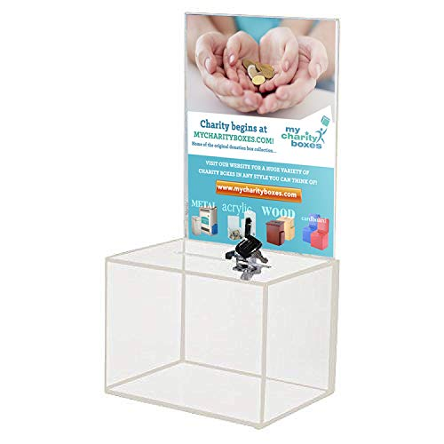 MCB - Medium Acrylic Donation Box - Ballot Box - Ticket Box - Vote Box - Suggestion Box - Comments Box - Locking with 2 Keys - Large Display Area