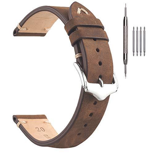 Cinturini per Orologi in Pelle, Cinturini per Orologi Vintage 22mm Crazy Horse EACHE, Cinturino per Orologi Fatti a Mano in Marrone
