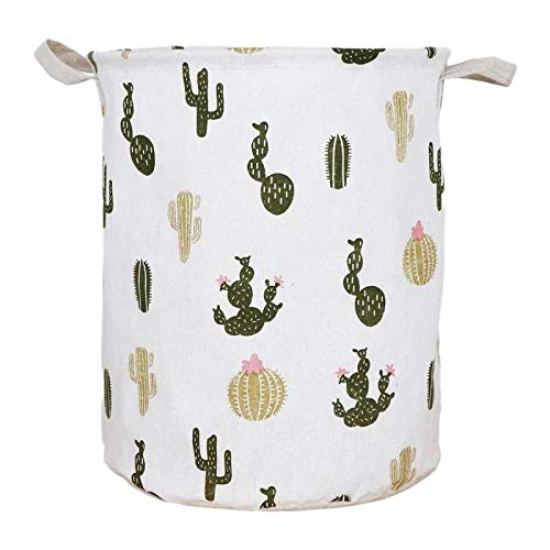 ZZNLYY Large Folding Laundry Basket Cactus Fabric Dirty Clothes Hamper Waterproof Toy Storage Bucket is Used to Store Toys and Dirty Clothes in The Laundry Room and Bedroom Are Ideal Choices