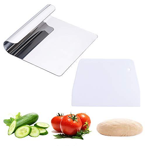 Bligo 2 Stück Vielzweck-Küchenhelfer Set - Gemüseschaufel aus 304Edelstahl und Teigschneider, 12x14cm Universalhelfer Spachtel Schaber zur Kochschaufel Teigschneider Teigschaber Teigspachtel