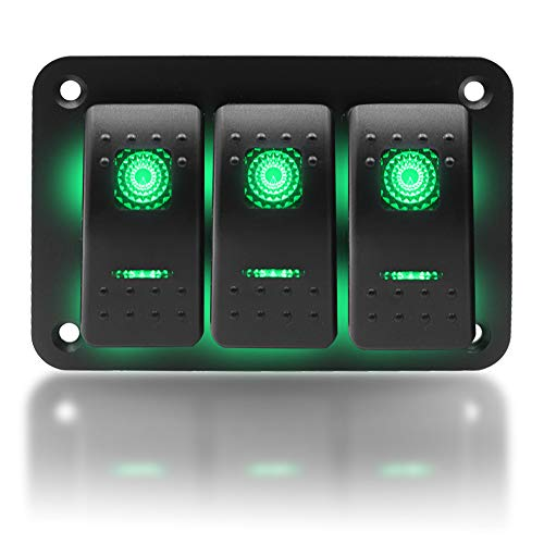 KAOLALI Panel de Interruptores 12V/24V Panel interruptores Barco Coche 3 Interruptores Impermeable para Autocaravana Campera Furgoneta Barco (Verde)