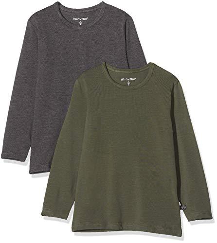 MINYMO 2er Pack T-Shirt mit Langen Ärmeln für Jungen Camiseta, Multicolor (Beetle/Gris 978), 152 cm para Niños