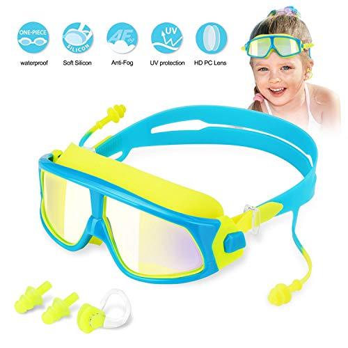 Kinder Schwimmbrille Schwimmbrillen für Kinder Taucherbrille Swimming Goggles, Anti Nebel UV-Schutz Kein Leck-Mit 2x Ohrstöpsel, 1x Nasenclips Aufbewahrungsbox Geschenk für Mädchen Jungen MEHRWEG