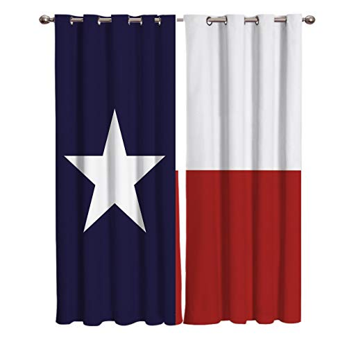Blackout Curtain Window Drapes Thermal Insulated Curtains 2 Panels, Texas Flag Lone Star Houston Texan Dallas Room Darkening for Living Room Bedroom Window Treatments 52x52 inch
