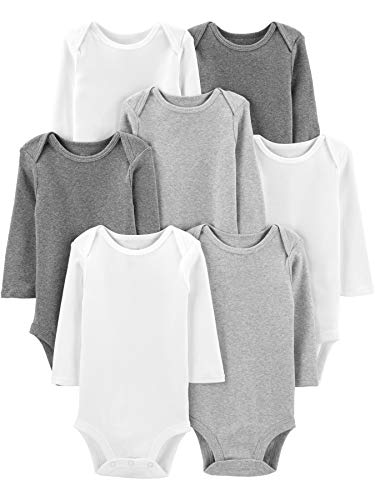 Simple Joys by Carter's 7-Pack Long-Sleeve Bodysuit Undershirts, White/Light Medium Heather Grey, 0-3 Meses