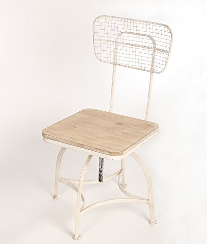 Vintage Antik Esszimmer Stuhl Industrial Metall Holz Höhenverstellbar Shabby 105x 40x 40cm
