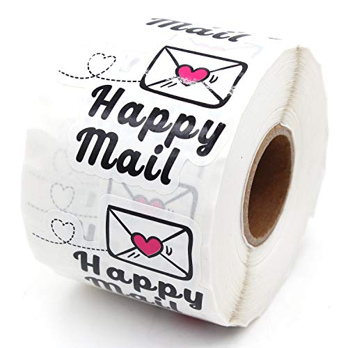 1.5 Inch Happy Mail Stickers, Thank You Sticker, Small Shop Sticker, Small Business, Packaging Sticker, 500PCS