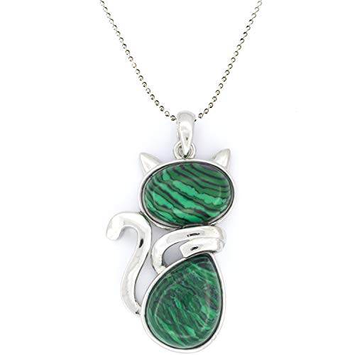 Malachite crystal stone necklace pendant for cats lovers. Natural healing chakra jewelry for girl and women .Real gemstone with present box. (malachite)