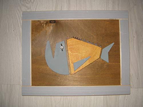 Holzbild, Fisch mit Säge