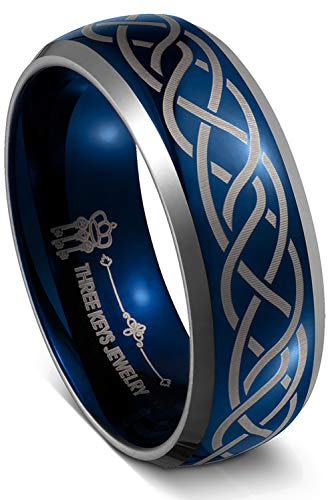 THREE KEYS JEWELRY Men Wedding Bands 8mm Blue Tungsten Laser Celtic Knot Viking Carbide Ring with Jewels Infinity Unique for Him Size 7