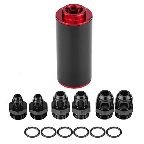 Terisass Filtro de gasolina en línea de combustible de alto flujo 100 micrones T6061 Billet Material de filtro de aluminio para camión de automóvil Incluye accesorios AN6 AN8 AN10(Negro rojo)