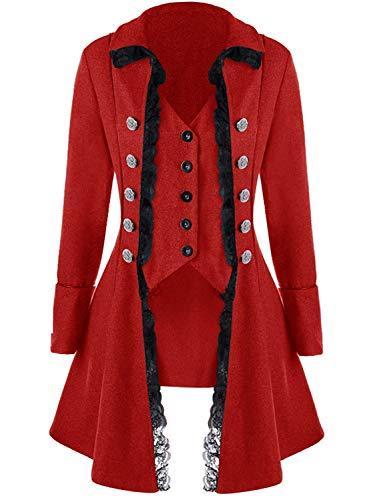 Women's Victorian Steampunk Gothic Corset, Gothic Tailcoat Steampunk Jacket, Tuxedo Suit Coat Victorian Costume (m, red)