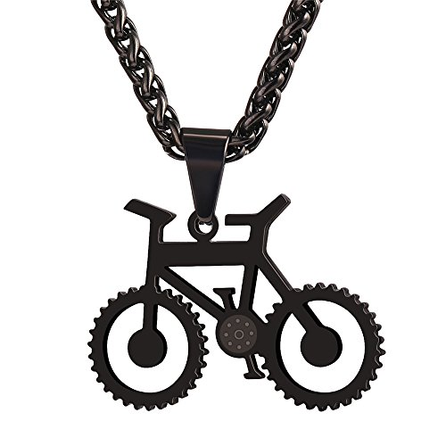 U7 Fahrrad Rad Radfahrer Rennrad Anhänger Halskette Schwarz Metall plattiert Kettenanhänger mit Kette Fashion Schmuck für Reiten Enthusiast, Schwarz-Ton