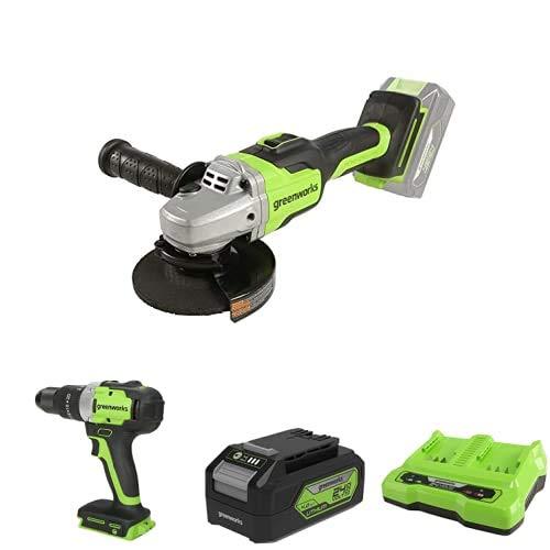 Greenworks Tools Amoladora angular inalámbrico GD24SAG + Taladro/Atornillador GD24DD65 + Batería G24B4 2ª generación + Batería de doble ranura Cargador universal G24X2C