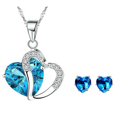 Conjuntos de Collar y Pendientes-Corazón Colgante-Cristal Azul-Regalo para Mujer